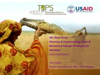 SBC Boot Camp: Planning & Implementing Social & Behavioral Change Strategies for Nutrition