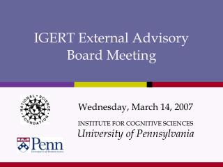 IGERT External Advisory  Board Meeting
