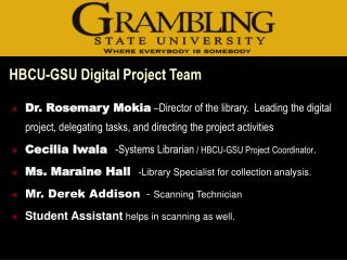 HBCU-GSU Digital Project Team