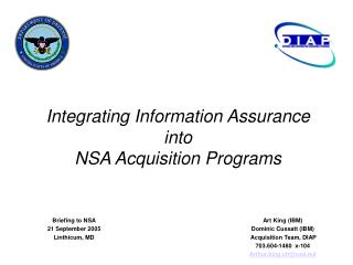 Integrating Information Assurance into  NSA Acquisition Programs