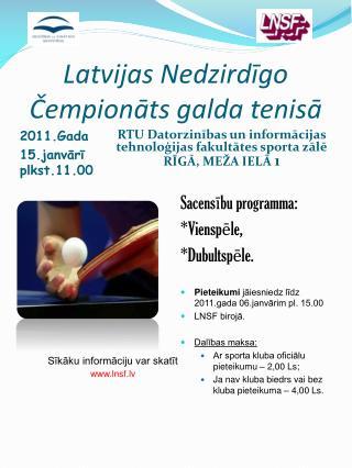 Latvijas Nedzirdīgo Čempionāts galda tenisā