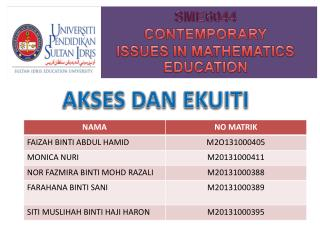 SME6044 CONTEMPORARY ISSUES IN MATHEMATICS EDUCATION