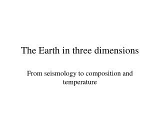 The Earth in three dimensions