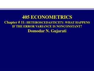 405 ECONOMETRICS