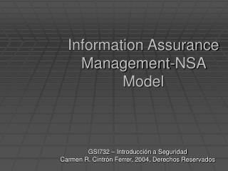 Information Assurance Management-NSA Model
