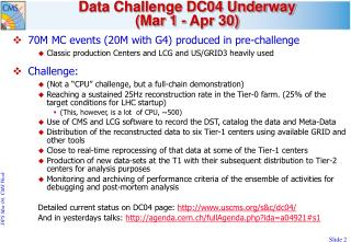Data Challenge DC04 Underway  (Mar 1 - Apr 30)