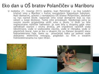 Eko dan u OŠ bratov  Polančičev  u Mariboru