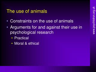 The use of animals