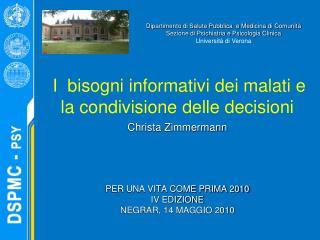 I  bisogni informativi dei malati e la condivisione delle decisioni