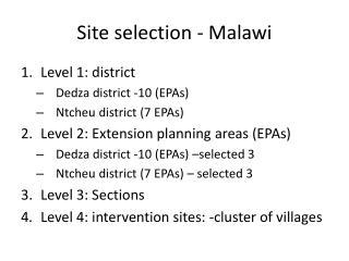 Site selection - Malawi