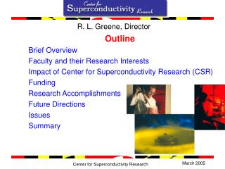 Outline Brief Overview Faculty and their Research Interests