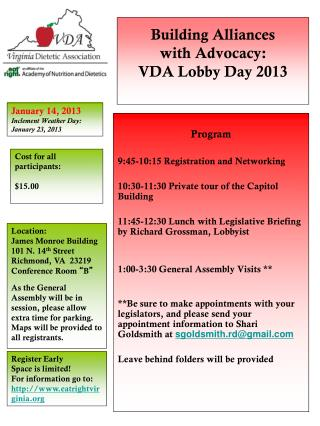 Building Alliances  with Advocacy:  VDA Lobby Day 2013