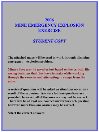 2006 MINE EMERGENCY EXPLOSION EXERCISE STUDENT COPY