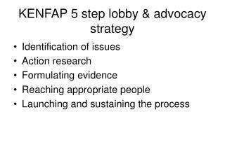 KENFAP 5 step lobby & advocacy strategy