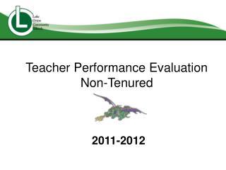 Teacher Performance Evaluation Non-Tenured
