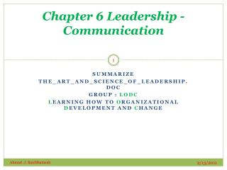 Chapter 6 Leadership - Communication