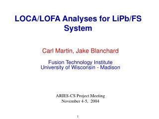 LOCA/LOFA Analyses for LiPb/FS System