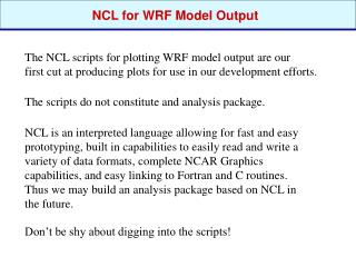 NCL for WRF Model Output