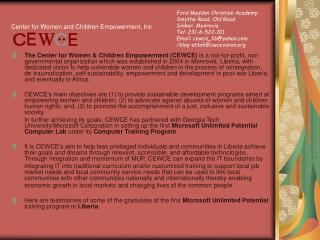 Center for Women and Children Empowerment, Inc