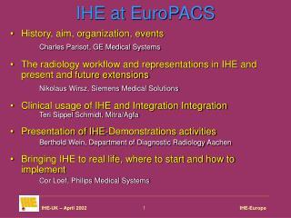 IHE at EuroPACS