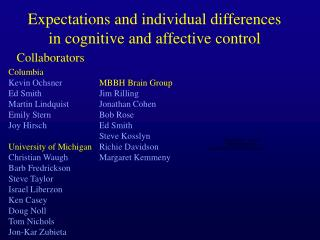 Expectations and individual differences in cognitive and affective control
