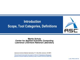 Introduction Scope, Tool Categories, Definitions