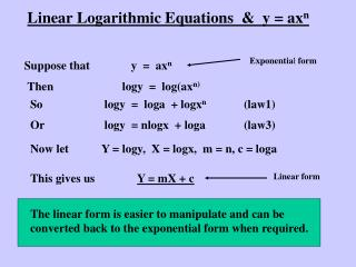 Linear Logarithmic Equations  &  y = ax n