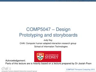 COMP5047 – Design Prototyping and storyboards
