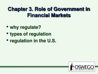 Chapter 3. Role of Government in Financial Markets