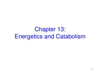 Chapter 13:  Energetics and Catabolism