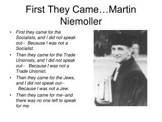 First They Came…Martin Niemoller