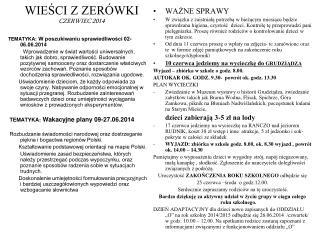 WIEŚCI Z ZERÓWKI CZERWIEC 2014