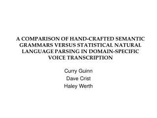 Curry Guinn Dave Crist Haley Werth