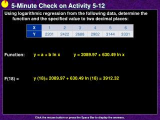 5-Minute Check on Activity  5-12