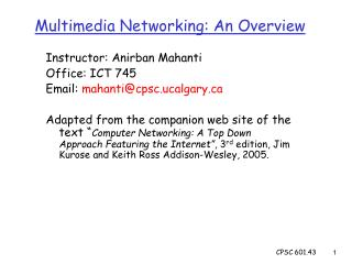 Multimedia Networking: An Overview
