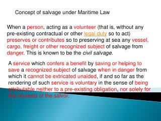 Concept of salvage under Maritime Law