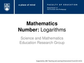 Mathematics Number:  Logarithms
