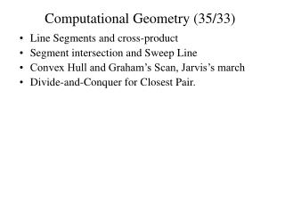 Computational Geometry (35/33)