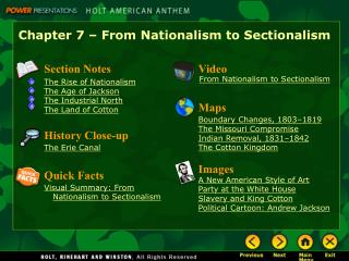 Chapter 7   From Nationalism to Sectionalism
