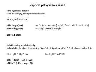 výpočet pH kyselin a zásad