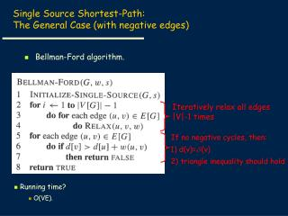 Single Source Shortest-Path:   The General Case (with negative edges)