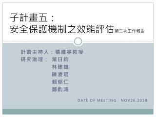 計畫主持人:楊維寧教授 研究助理: 葉日鈞 林建雄 陳凌琨 賴郁仁 鄭鈞鴻 DATE OF MEETING : NOV26,2010