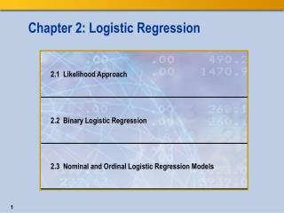 Chapter 2: Logistic Regression