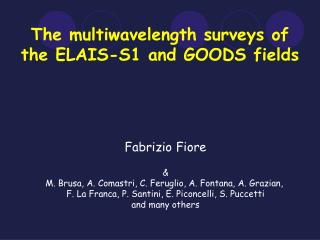 The multiwavelength surveys of the ELAIS-S1 and GOODS fields