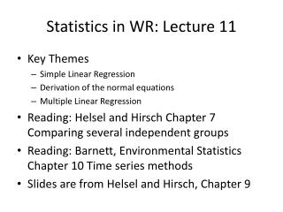 Statistics in WR: Lecture 11