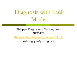 Diagnosis with Fault Modes