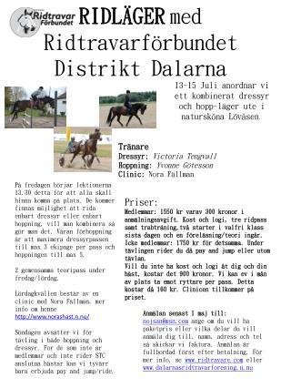RIDLÄGER med Ridtravarförbundet Distrikt Dalarna