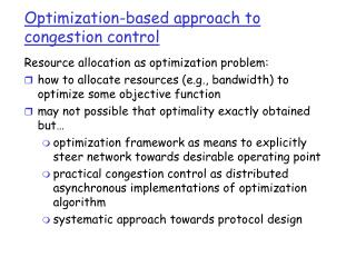 Optimization-based approach to congestion control