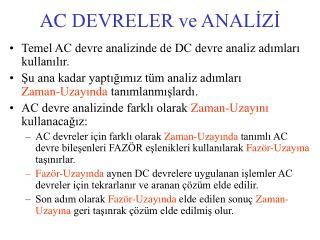 AC  DEVRELER ve ANALİZİ
