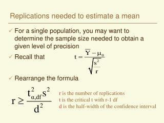 Replications needed to estimate a mean